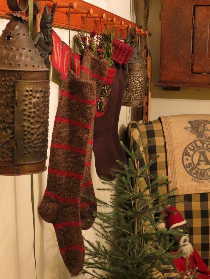 primitive christmas stockings christmas pinterest - Primitive Christmas Stockings