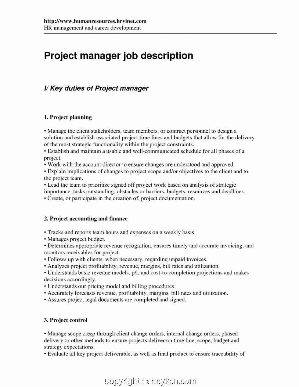 Project Manager Job Description Resume Luxury Free Project Manager Duties Resume Collection Solutions Res Nanny Job Description Job Description Babysitter Jobs