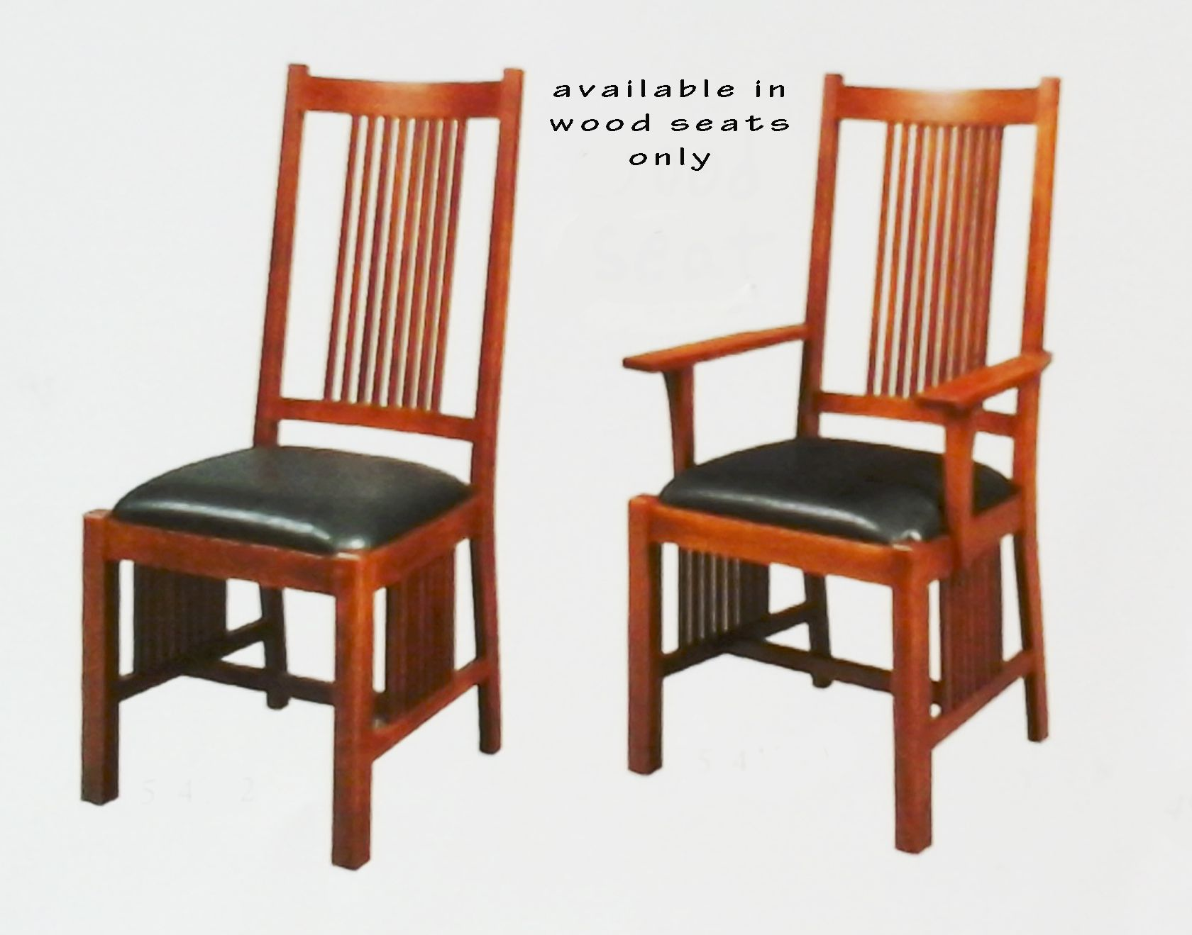 Woodland Side And Arm Chairs With Wood Seats Only