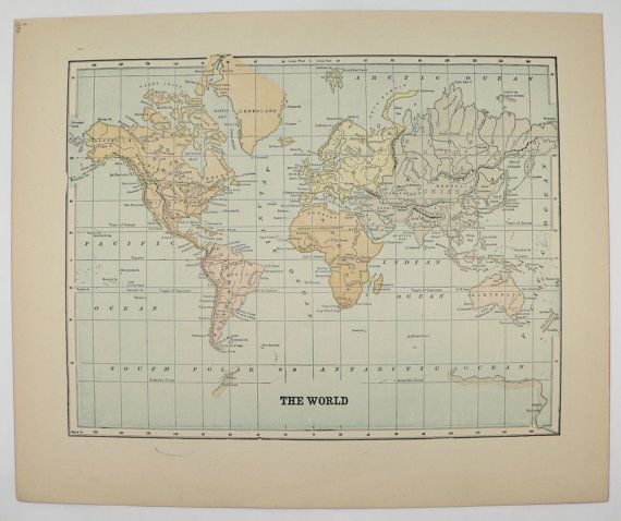 Vintage world map 1896 antique map of the world old world decor vintage world map 1896 antique map of the world old world decor gift for friend gumiabroncs Gallery