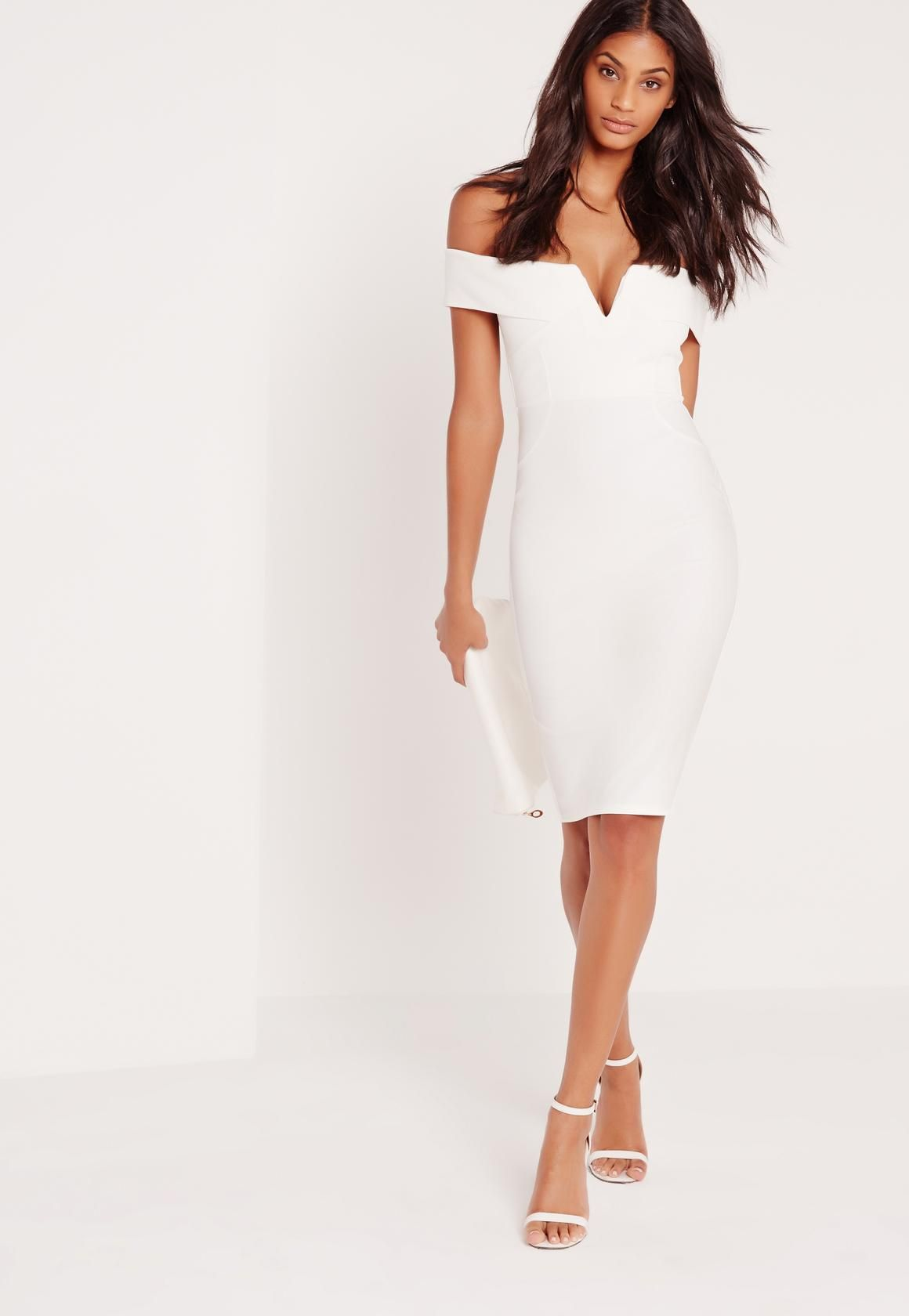 bb6cff175799 Missguided - V Front Bardot Midi Dress White