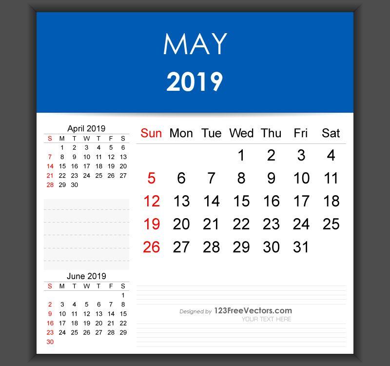 Editable May 2019 Calendar Template Free Vectors Pinterest
