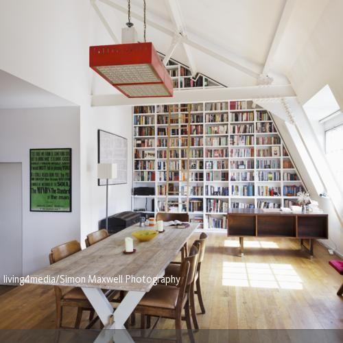 Bücherregal unter der Dachschräge Dachschräge, Bücherregale und - ideen bibliothek zu hause gestalten