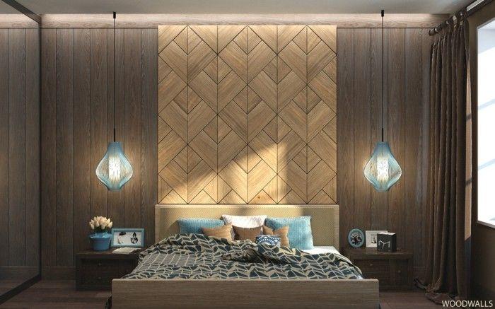 wanddeko aus holz schlafzimmer akzentwand Wanddekoration