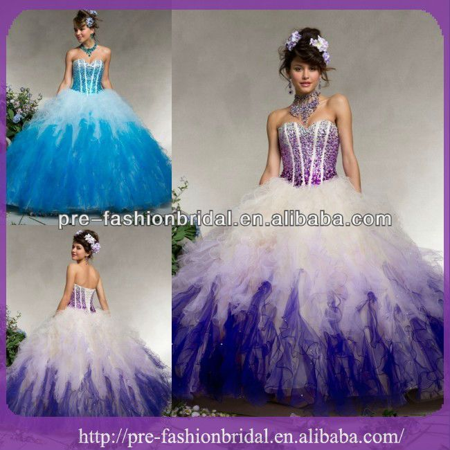 Ball Gown Beded Tulle With Ombre Ruffled Purple And White ...