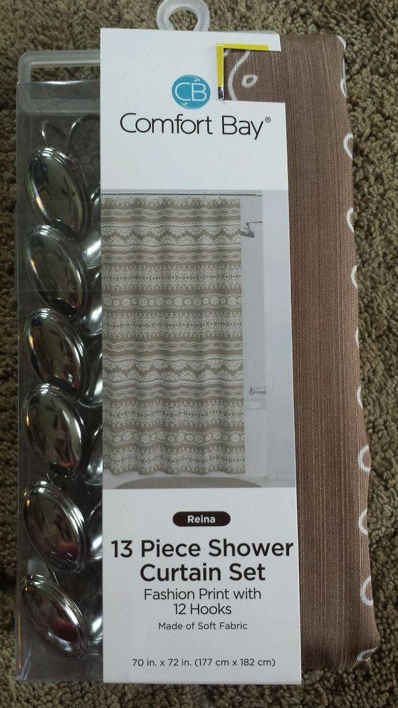Comfort Bay 13 Piece Shower Curtain Set Reina 70in X 72in Plus