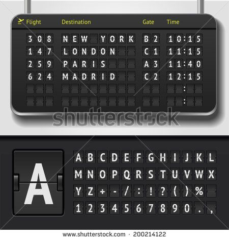 Vector airport board isolated Realistic flip scoreboard airport - scoreboard template