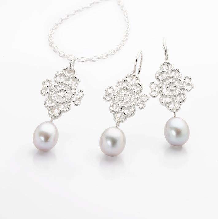 www.ORRO.co.uk - Brigitte Adolph – Silver & Pearl Mona Lisa Necklace - ORRO Contemporary Jewellery Glasgow
