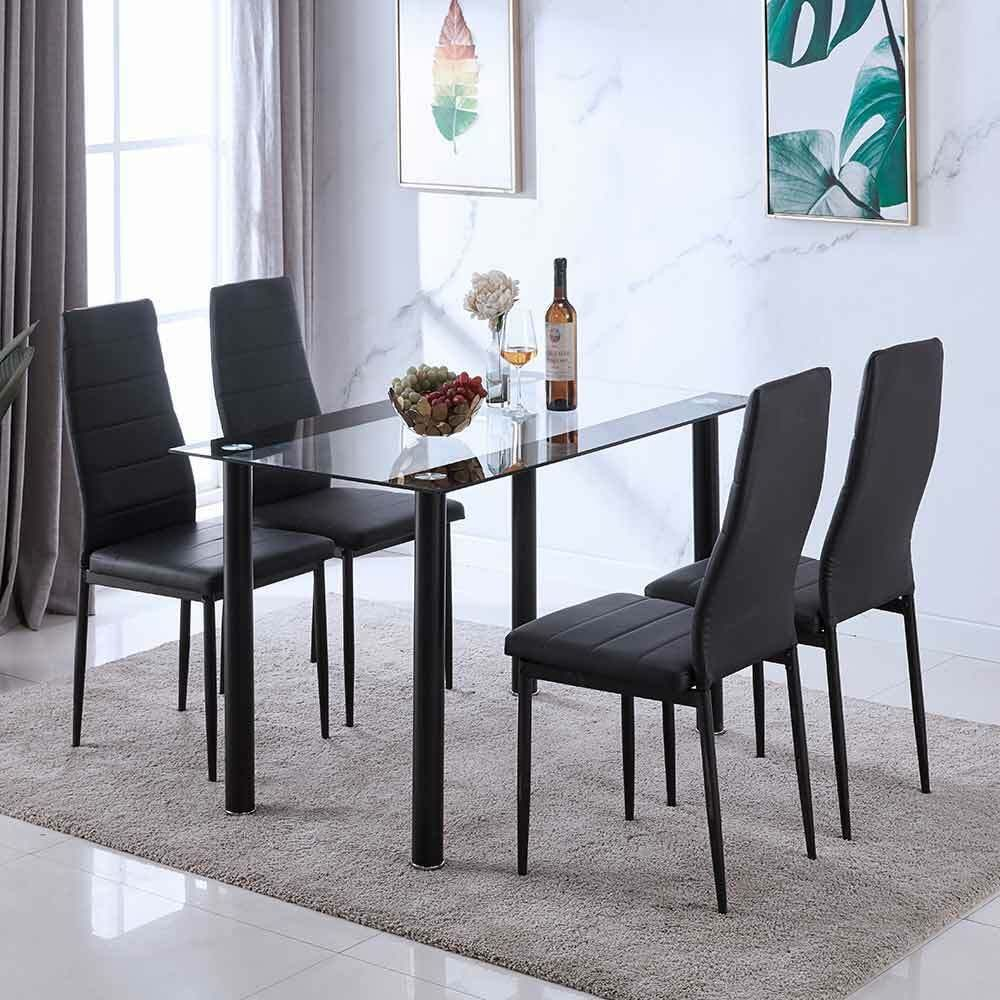 Black Glass Rectangle Dining Table Set With 4 Leather Chairs Seats Kitchen Home E Dining Room Furniture Sets Rectangle Dining Table Black Glass Dining Table