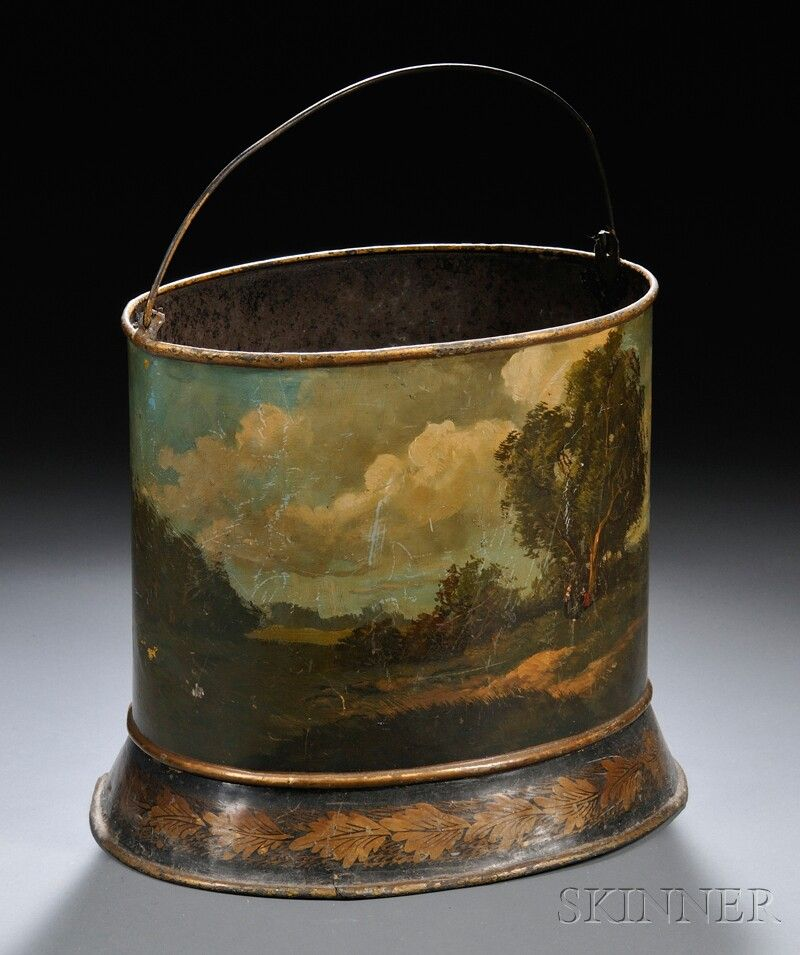 Toleware Wastebasket England 19th Century Oval Shape With A Bail Handle Painted With A Panoramic Landscape Scene With A Toleware Antique Decor Vintage Tins