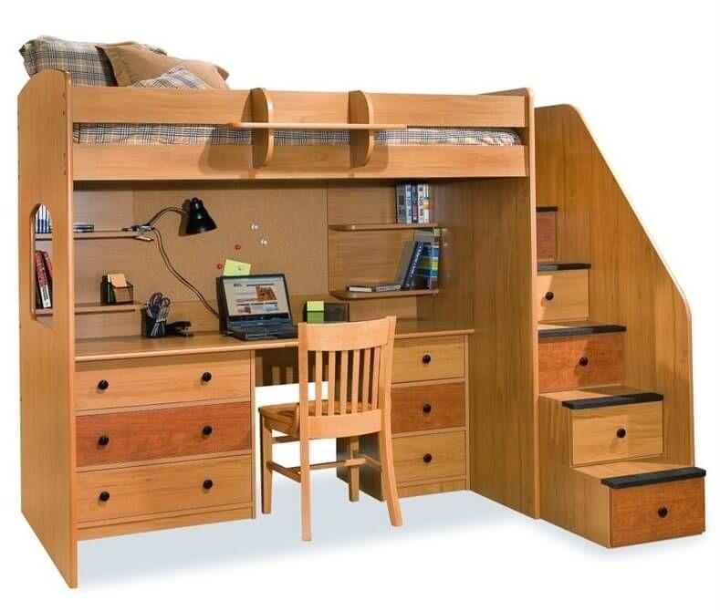 hochbett mit schreibtisch und treppe lounge sofa. Black Bedroom Furniture Sets. Home Design Ideas