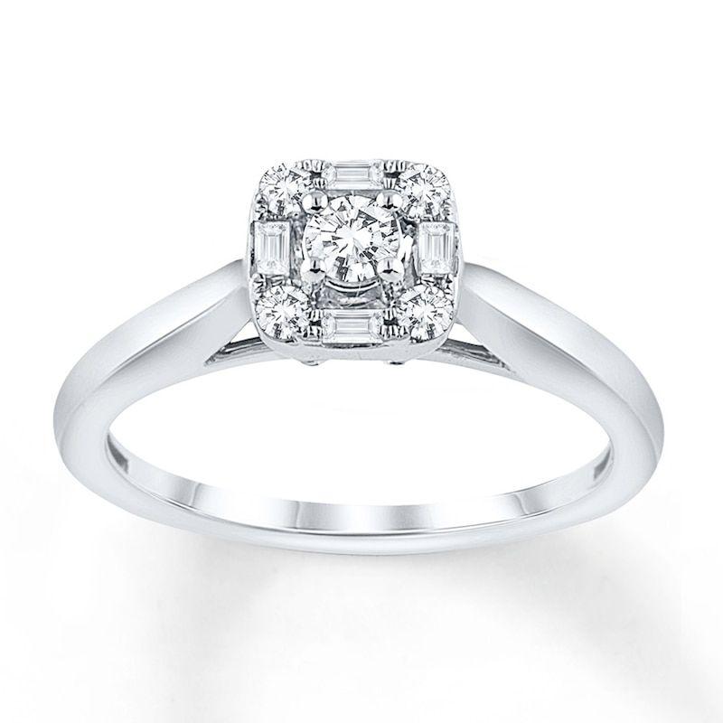 Diamond Engagement Ring 1 4 Carat Tw 10k White Gold In 2020 Diamond Wedding Rings Sets Diamond Engagement Diamond Engagement Rings