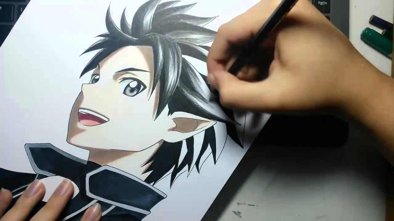 Speed Drawing - Kirito (Sword Art Online) | Drawings | Pinterest ...