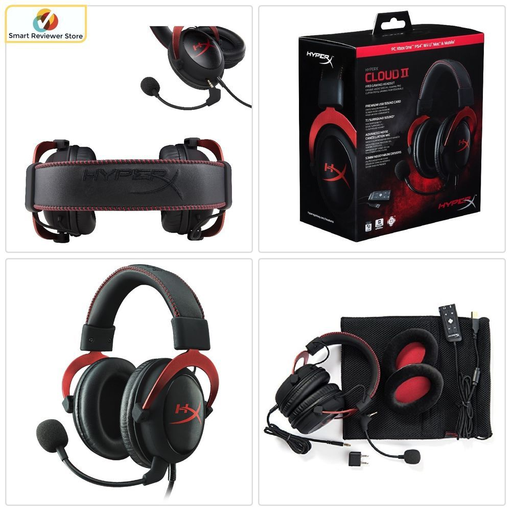 d6d9dd55d60 HyperX Cloud II Gaming Wired Headset for PC PS4 Xbox One Nintendo Switch  Red NEW #Kingston