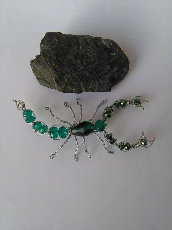 Scorpion brooch Green crystals brooch Animal brooch pin Wire ... 4d30840477