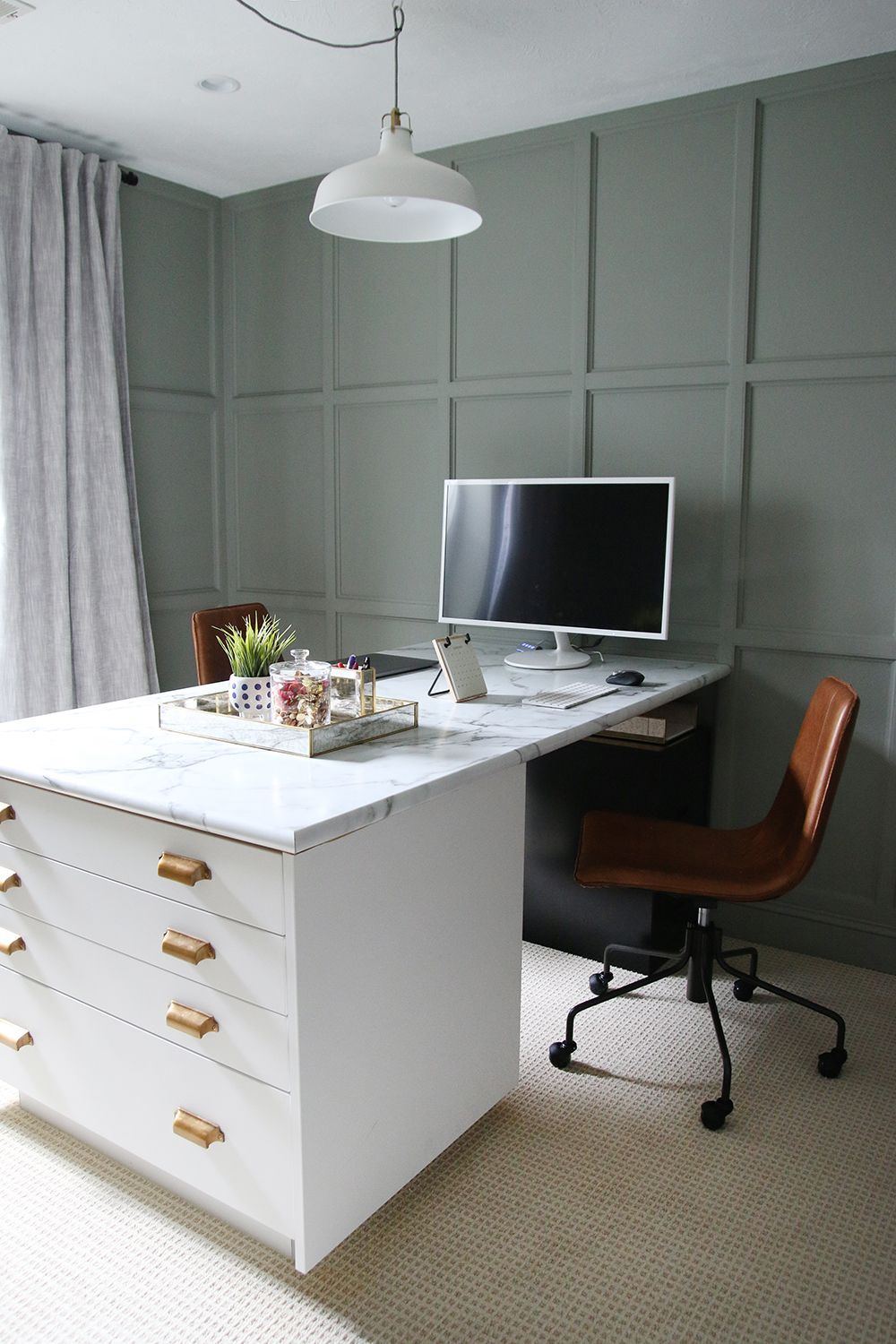 Chris Loves Julia The Chairs Are Slope Leather Swivel Office Chair From West Elm Officechair Office Desk Designs Home Office Decor Home Office Desks