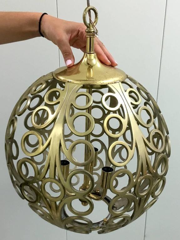 Pair of Pierced Brass Geometric Pendant Lights 6