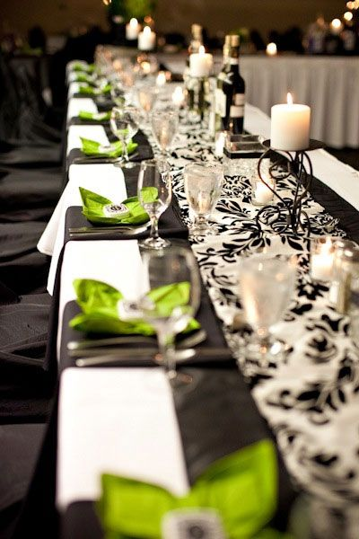 Black Satin Runner With A White And Black Damask Runner On Top. Love The  Lime Accents. This Kind Of Reminds Me Of My Wedding!