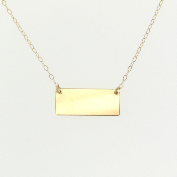 14k gold nameplate necklace can be engraved small rectangle name gold 14k gold nameplate necklace aloadofball Image collections