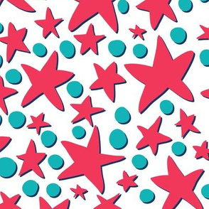 Red And Blue Stars And Dots Diseminger Spoonflower Red And Blue Blue Star Dotted Fabric
