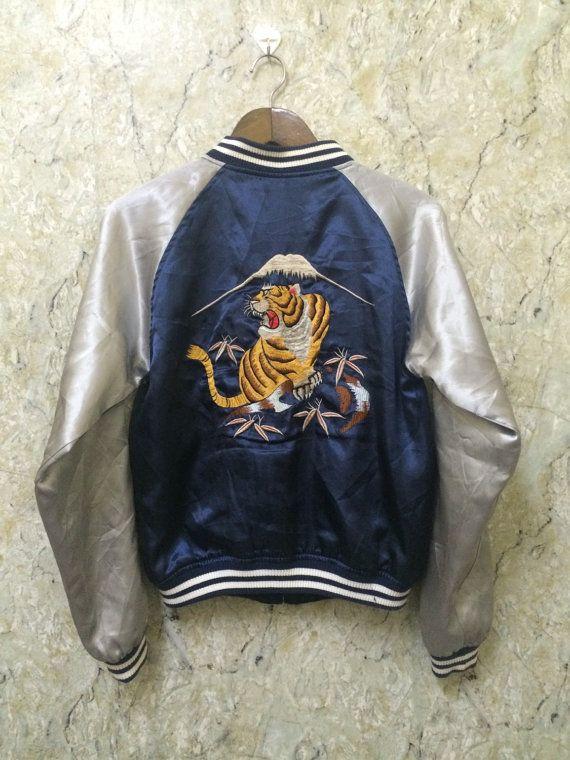 9b985d4a1 Vintage Embroidered Souvenirs Japanese Sukajan Varsity Jacket, Tiger ...