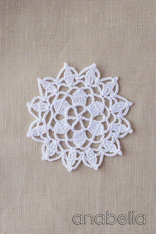 Crochet lace motif nr 6 by Anabelia #Crochet #Pattern #Freepattern