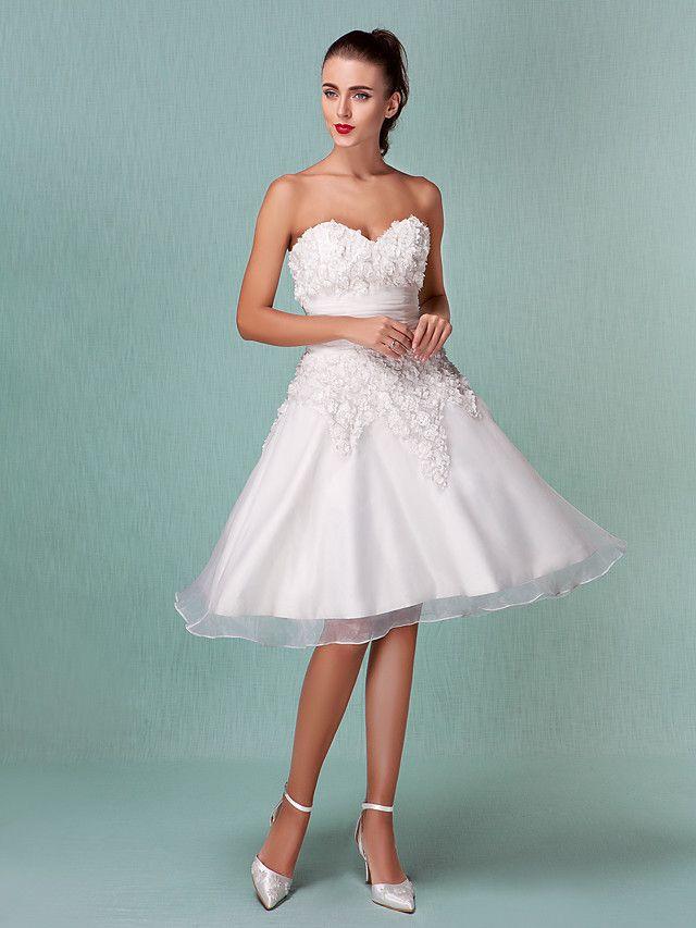 A-Line Princess Sweetheart Knee Length Organza Satin Wedding Dress ...