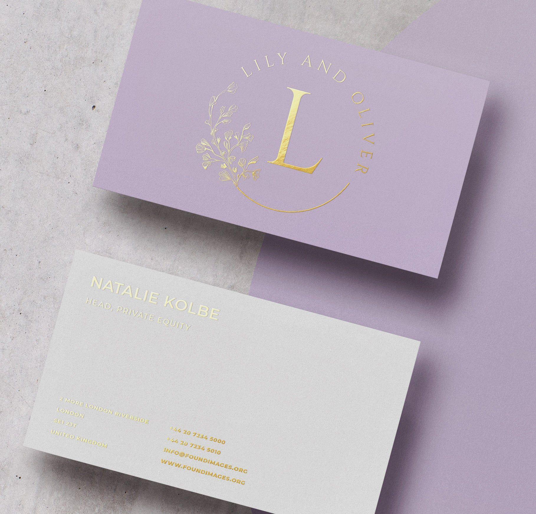 Purple Card Design And Print Gold Foil Minimal Business Card Unique Business Card Calling Card Design And Print Bc018 Foil Business Cards Gold Business Card Floral Business Cards