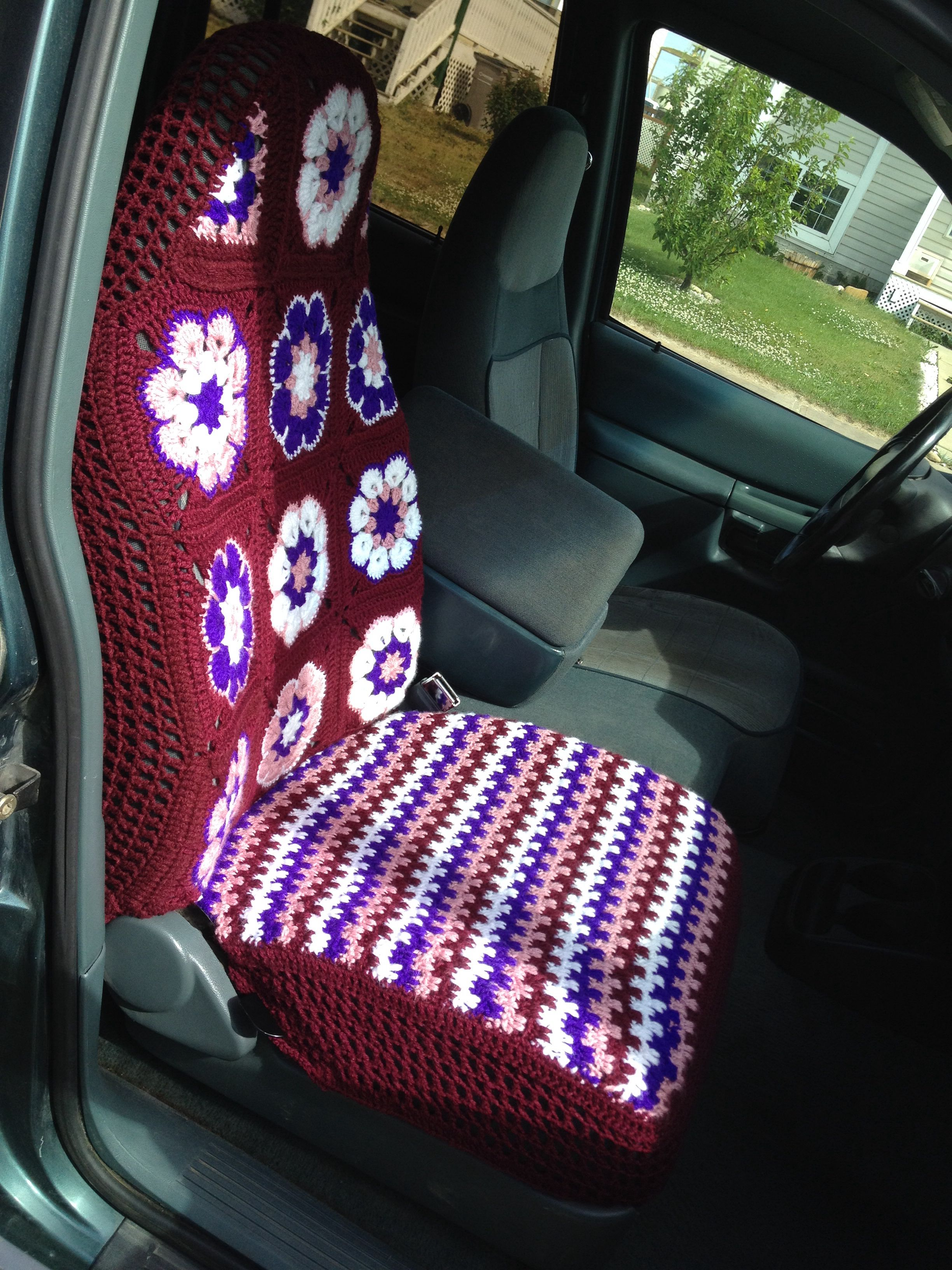 Crochet Car seat cover no pattern just winged it