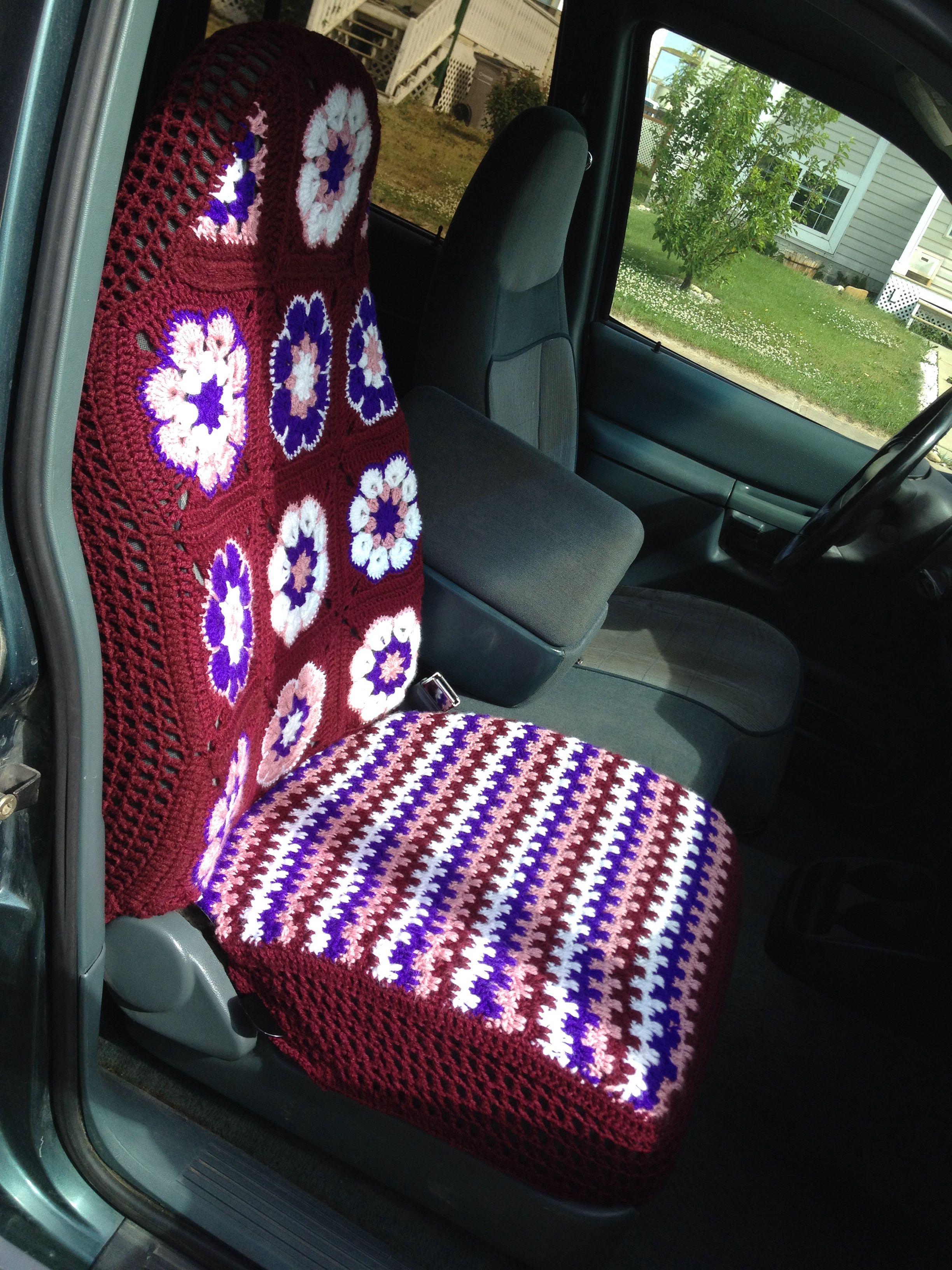crochet car seat cover no pattern just winged it h keln pinterest kissenbez ge n hen. Black Bedroom Furniture Sets. Home Design Ideas