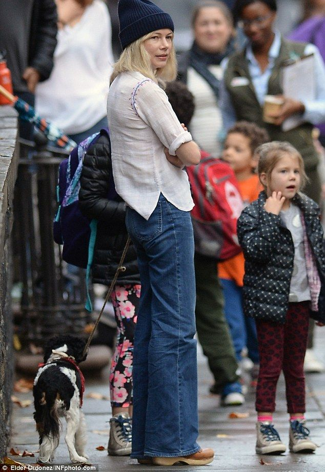 Michelle Williams and daughter Matilda walk their dog Lucky in NYC