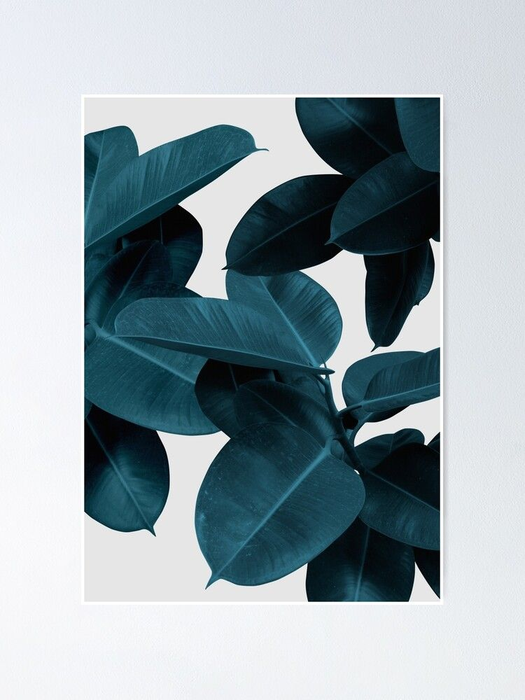 Navy Blue Plant Leaves Poster