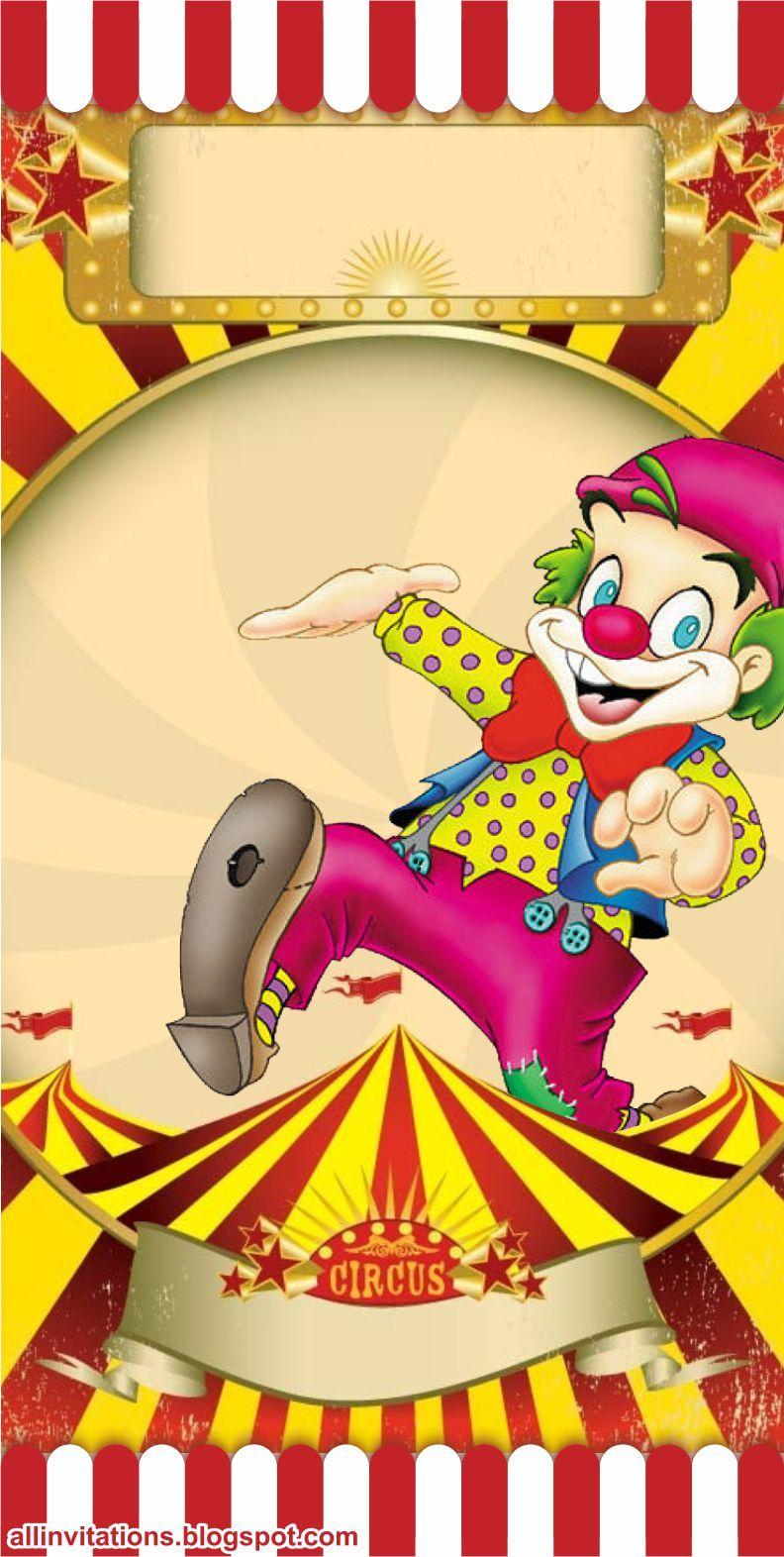 Plantilla ticketmaster circo con payaso | Invitaciones para imprimir ...