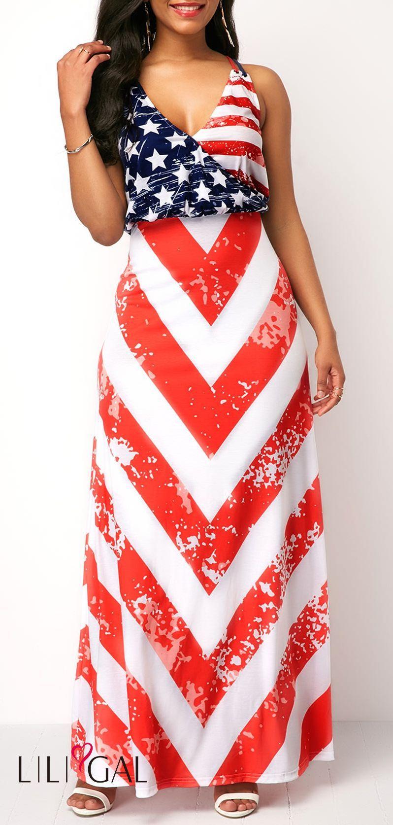 f939af36b1 V Neck Star Print Sleeveless Maxi Dress  liligal  4thofjuly  fourthofjuly   patriotic