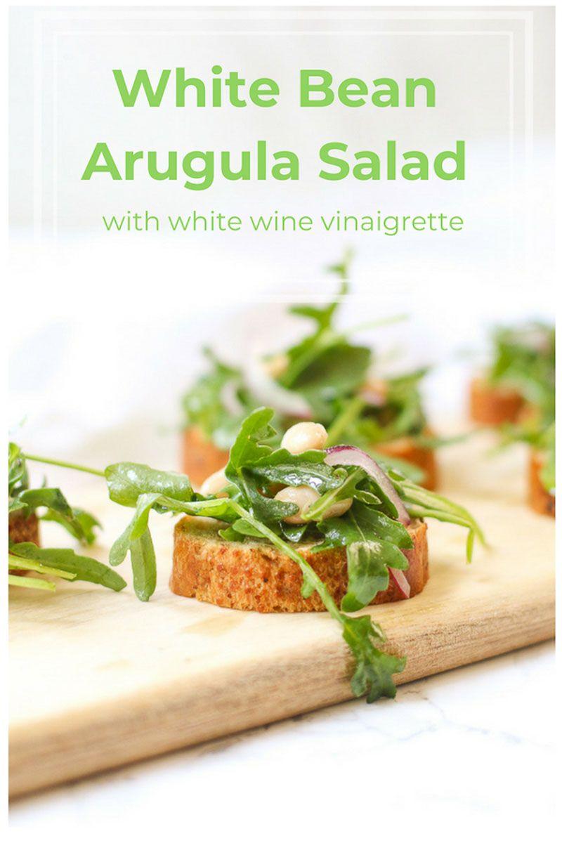 White Bean Arugula Salad on Crostini