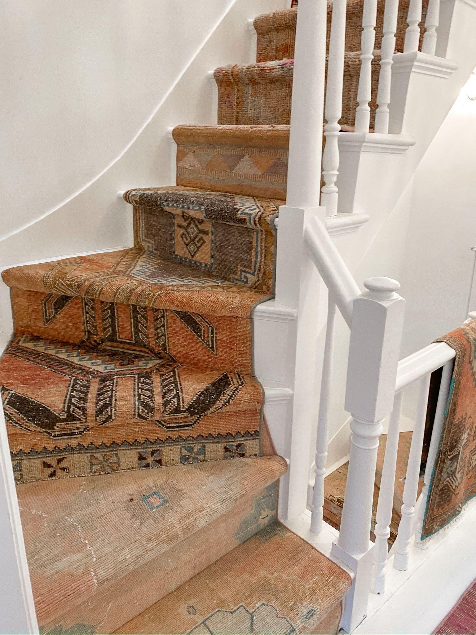 Vintage Pink Orange Stair Runner In 2020 Stair Runner Stairs | Rug Runners For Stairs | Wood | Antelope | Hallway | Persian | Mid Century Modern
