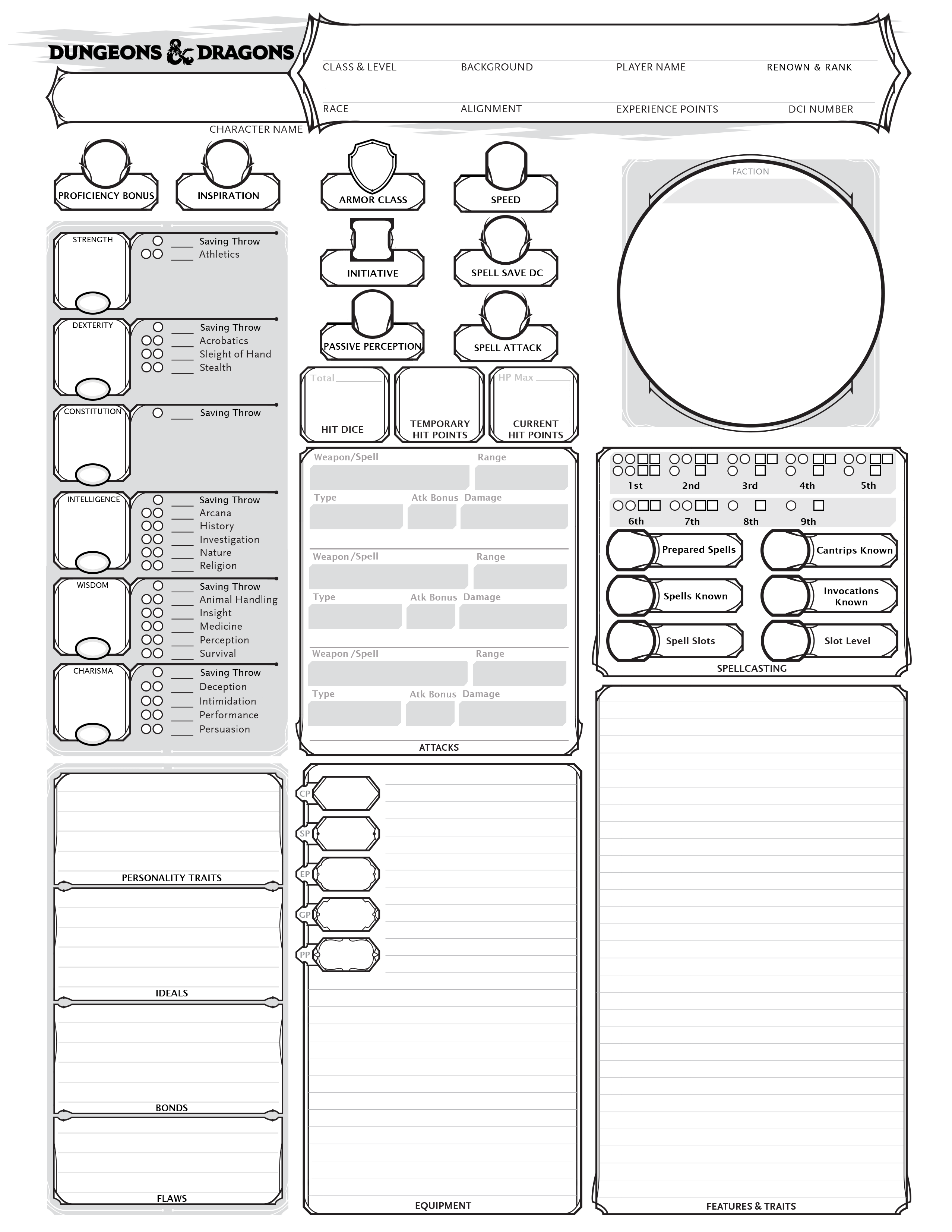 Image Result For D Amp D 5e Character Sheet