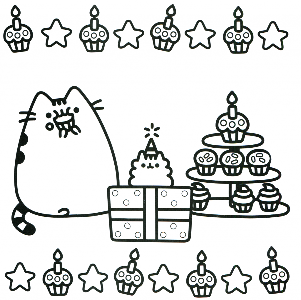 Pusheen Coloring Pages Muh Birthday Again Pusheen Coloring Pages