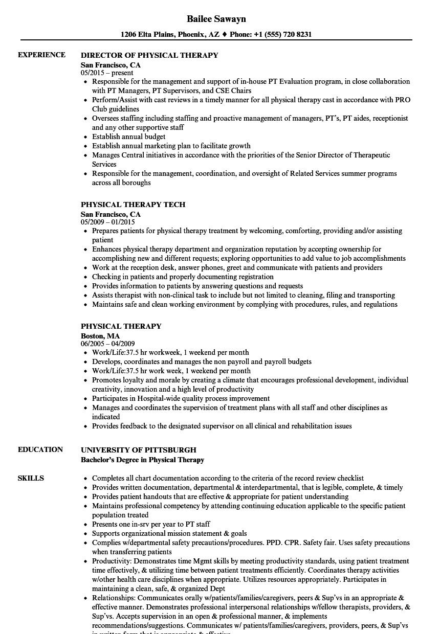Entry Level Physical Therapist Resume Fresh Elegant Physical