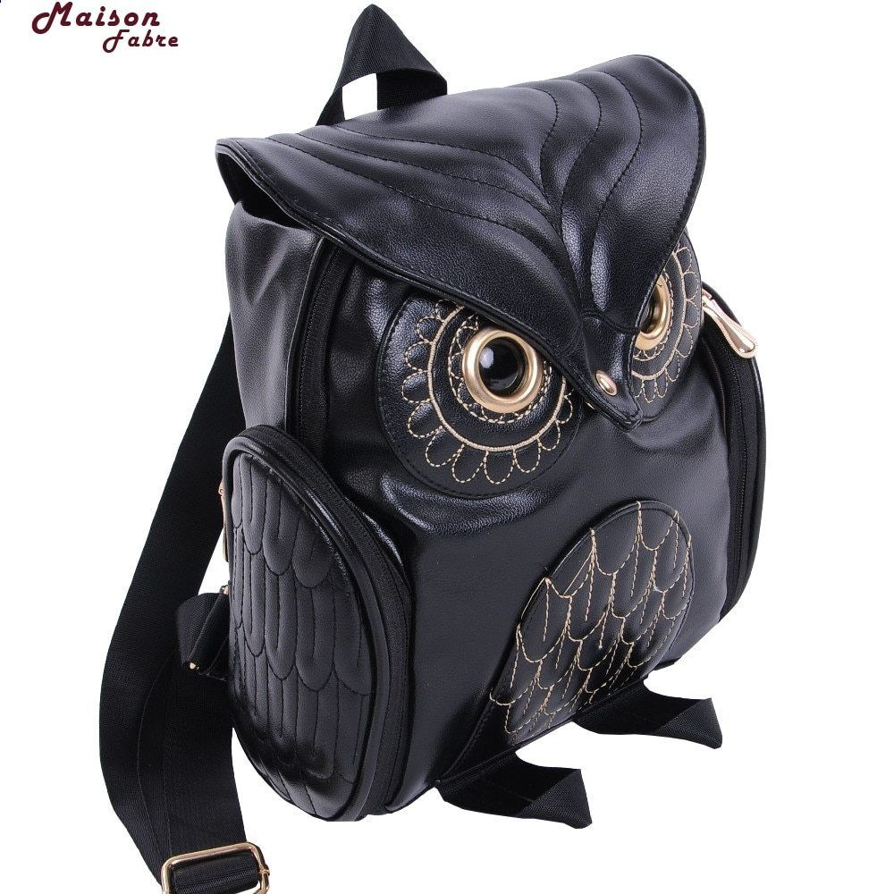 Maison Fabre módní roztomilý sova batoh ženy Cartoon školní tašky pro  dospívající dívky černé ženy batoh kůže 1a97130baf