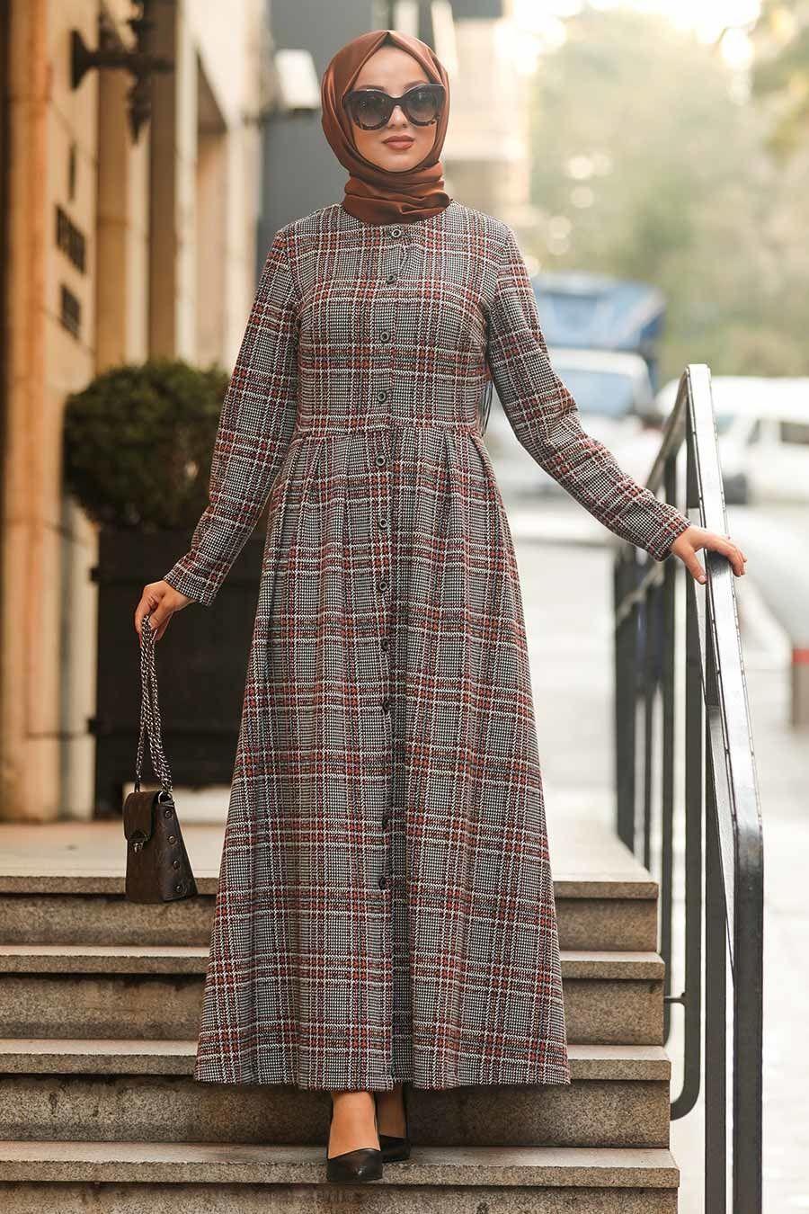 Neva Style Ekoseli Kiremit Tesettur Elbise 75901krmt Tesetturisland Com Elbise Kiyafet Nevada