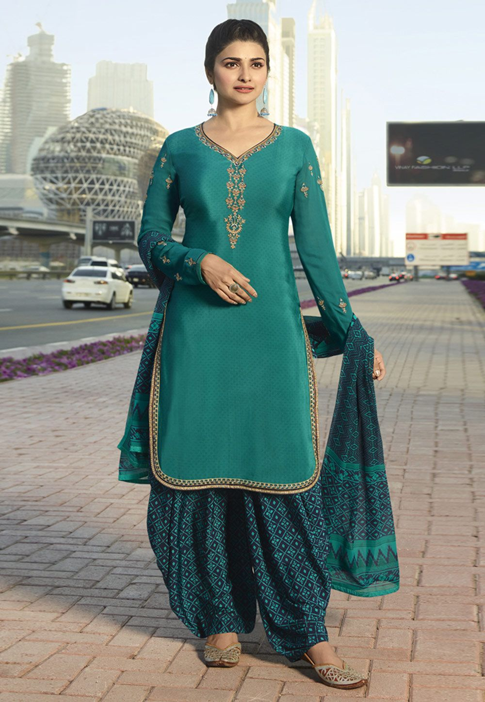 ea2c4c5adc5 Buy Prachi Desai Teal Crepe Patiala Suit 157403 online at lowest price from  huge collection of salwar kameez at Indianclothstore.com.