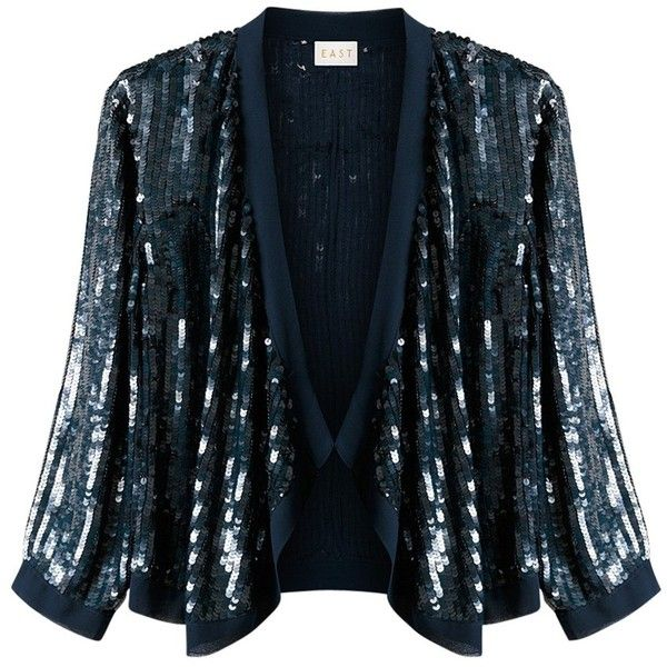 East Sequin Cardigan, Navy ($115) ❤ liked on Polyvore featuring ...