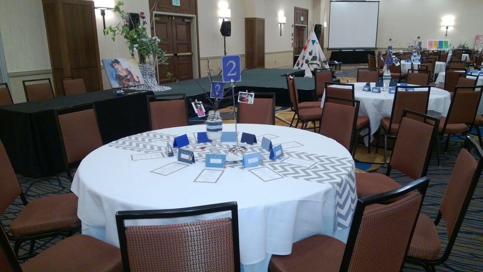 Table centerpiece chevron runner blue and silver denim for Denim centerpieces
