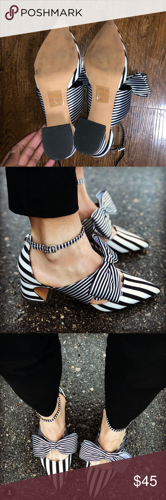 5452ddc6158 ASOS Design Statue Striped Bow mid Heel Worn twice. Still in good  condition. I received soo many compliments when I wore these 😍 size US 11 ASOS  Shoes