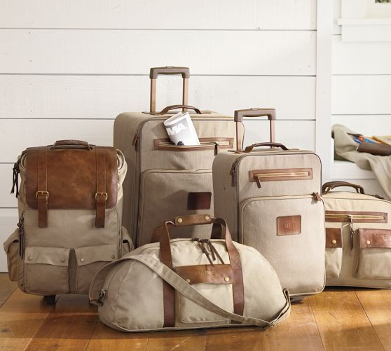 Waxed Canvas Rolling Large Suitcase Bag | Pottery Barn | {getaway ...