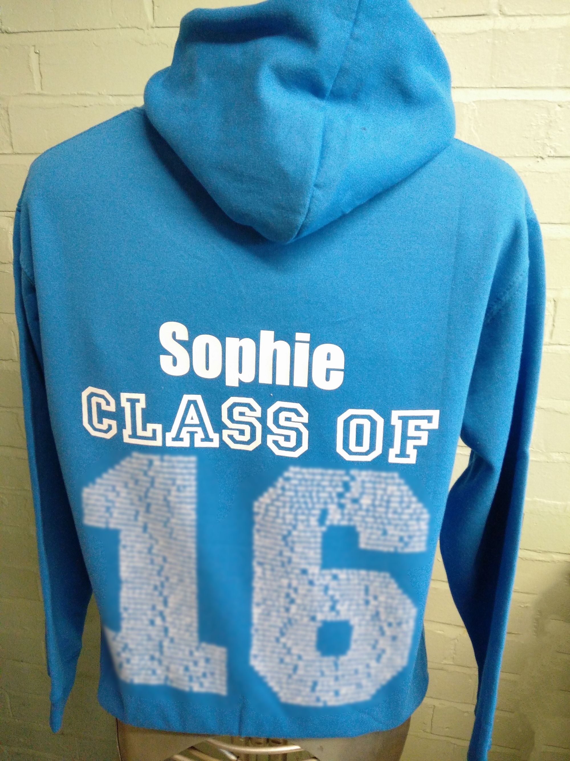 Blue Class of 2016 Hoodies looking good. With custom embroidered logo on the front and printed Leavers design on the back complete with names. Great to be working with these guys.
