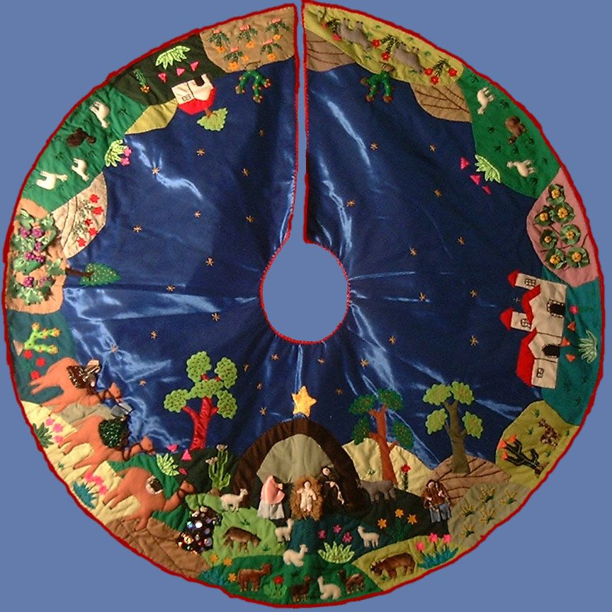 Nativity Scene Arpillera Tree Skirt - Hand Sewn - Peru - sold out