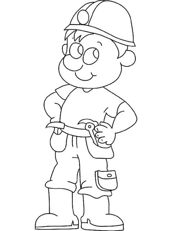Construction, : Construction Worker Coloring Page for Kids ...