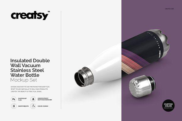 51f5705576051 Insulated Vacuum Bottle Mockup Set @creativework247 | Product ...